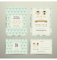 Art Deco Cartoon Couple Wedding Invitation Card vector image vector image