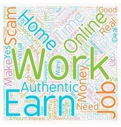 Authentic info Work online from home to earn money vector image vector image
