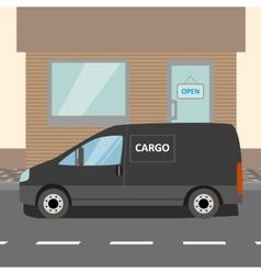 Black delivery Van vector image vector image