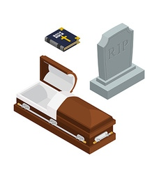 Burial set open wood coffin with dead holy bible vector