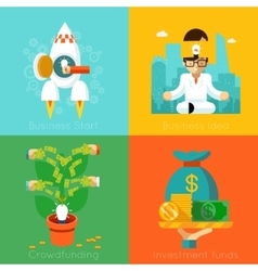 Business start investment funds crowdfunding vector