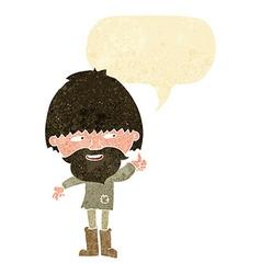 Cartoon hippie man in wellington boots with speech vector