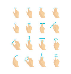 Cartoon touch screen gestures set vector
