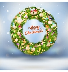 Christmas garland with baubles EPS 10 vector image vector image