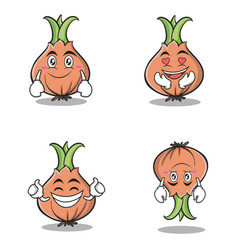 collection set onion character cartoon vector image