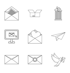 E-mail icons set outline style vector image vector image