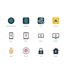 Fingerprint and devices color icons on white vector