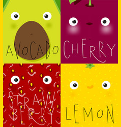 Fruits and vegetables muzzles avocado cherry vector
