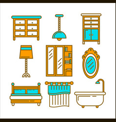 Furniture pieces set in graphic design isolated on vector