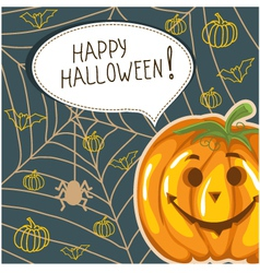 Halloween background with funny pumpkin and bubble vector image