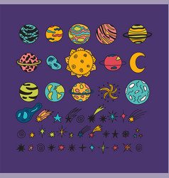 Hand drawn planets stars asteroids and other vector
