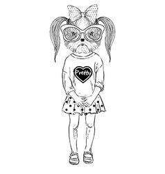 Humanimal doggy girl vector