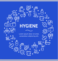 hygiene round design template line icon concept vector image vector image
