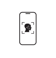 Icon smart phone scan face recognition system vector