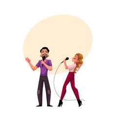 man and woman couple singing together karaoke vector image vector image
