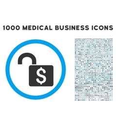 Open banking lock icon with 1000 medical business vector