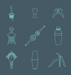 Outline icons barman instruments set vector