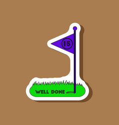 Paper sticker on stylish background golf course vector
