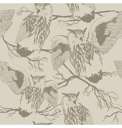 Pattern with owl silhouettes of owls vector