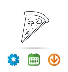 Pizza icon piece of italian bake sign vector