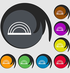 Rainbow icon sign symbols on eight colored buttons vector