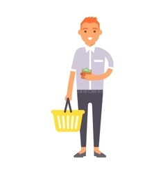 shopping boy vector image vector image