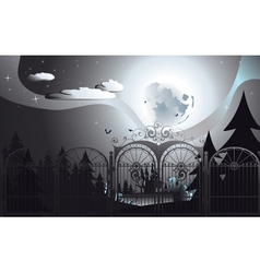Spooky Halloween Cemetery3 vector image