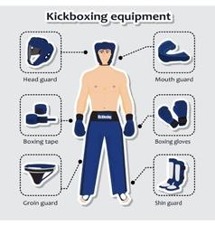 Sport equipment for kickboxing martial arts vector