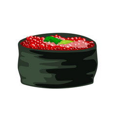 traditional japanese roll stuffed with tobiko vector image