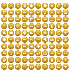 100 location icons set gold vector