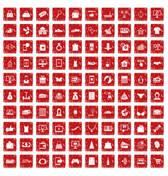 100 online shopping icons set grunge red vector image vector image