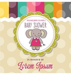 Baby shower card with cute little mouse vector