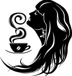 beautiful young woman with coffee vector image