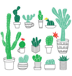 Doodle collection of cute potted cactuses vector