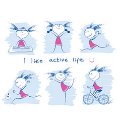 young girl in variouse sport lifestyle doodle vector image