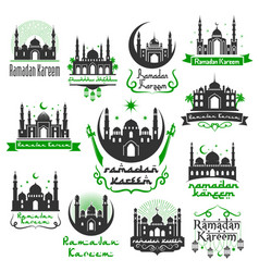 Ramadan kareem greeting icons set vector