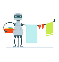 Housemaid android character hanging out laundry vector