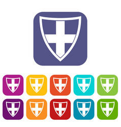Shield for protection icons set vector
