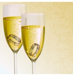 Engagement ring with champagne glass vector