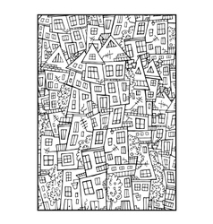 Drawing contour town background vector
