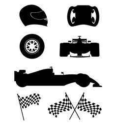 Black silhouette set racing icons vector