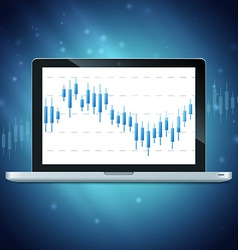 Laptop with forex chart on desktop vector