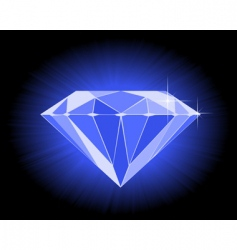 Faceted blue diamond vector