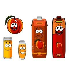Apricot fruit and juice characters vector