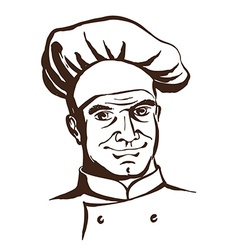 Handsome chef wearing hat and uniform hand drawing vector