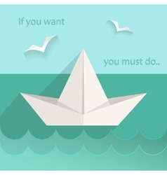 Flat paper ship sea seagull vector