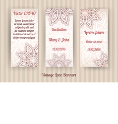 Set of 3 vintage lace banner templates vector