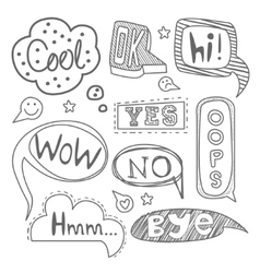 Speech bubble collection black and white vector