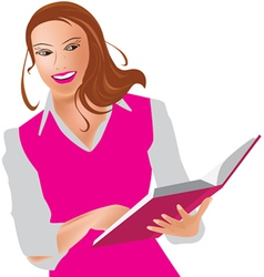 Woman and book vector