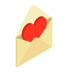 Envelope with valentine heart isometric 3d icon vector